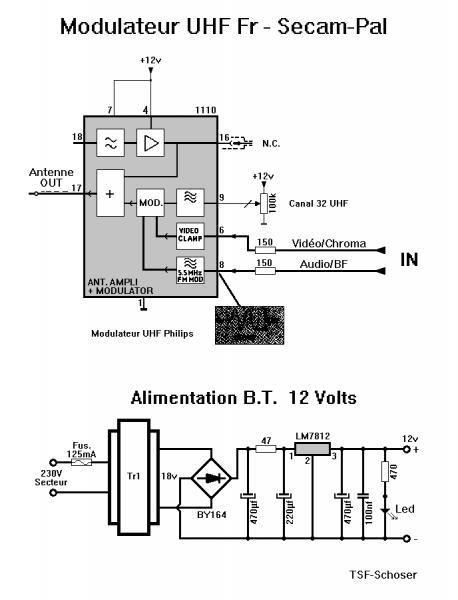 Modulateur uhf schema